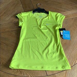 NWT Women's Small Nike Tennis Shirt Neon Yellow